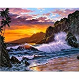 Pintura por número Imagen de paisaje costero para dibujar en lienzo con marco para adultos Kit de pintura de color Arte de decoración del hogar (sin marco)