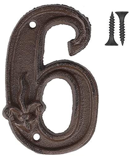 Vandicka Números de forja para indicar la numeración de las casas, puertas y calles, color marrón envejecido, acabado óxido con estampado de flor de lis, 12 cm, 6