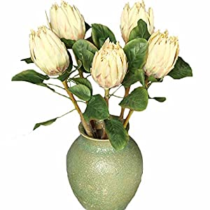 Calcifer 5 Pcs The King Protea (Protea Cynaroides) Artificial Flowers Plants for Home Garden Wedding Party Decoration