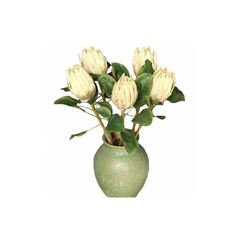 silk flower arrangements calcifer 5 pcs the king protea (protea cynaroides) artificial flowers plants for home garden wedding party decoration