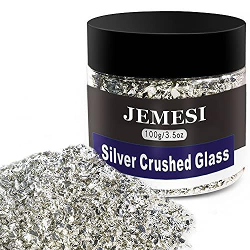 JEMESI 100g Crushed Glass, 2-4mm Reflective Crushed Metallic Glass Glitter Gem Beads Chips voor DIY Hars Nagel…