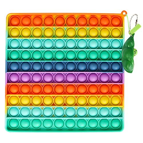 Fettinow Pop Its Gigante XXL - 20 cm Jumbo It Pop- Juguete Enorme Pop Its Fidget - Juguete Sensorial Big It Pop Grande para Aliviar El Estrés (Arco Iris) (20CM Rainbow Square)