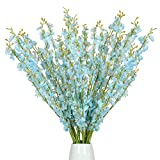 Nubry 12pcs Artificial Orchids Flowers Fake Silk Dancing Lady Orchid Faux Long Stem Flowers in Bulk for Home Wedding Office Party Festive Indoor Outdoor Decoration (Blue)