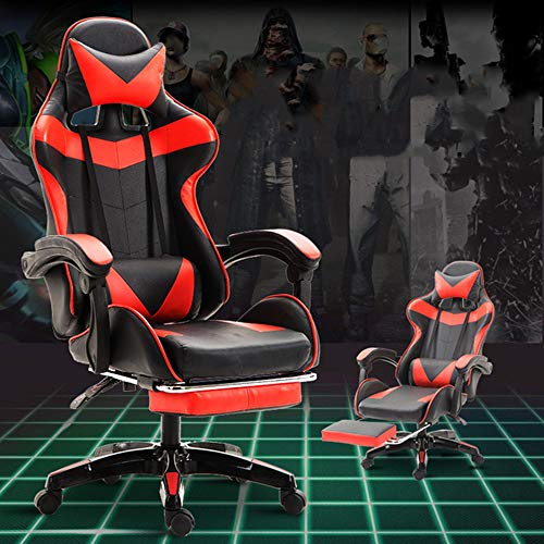 DJLOOKK Silla de Oficina para Juegos/Carreras con Respaldo Alto, sillas ergonómicas para computadora de Escritorio con reposacabezas y cojín Lumbar y reposapiés, sillas ejecutivas, sillón Boss