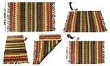 iinfinize Juteskorbläufer Teppich, handgefertigte Fußmatte, Vintage-Teppich, Gebetsmatte, Jaipur Kilim Wollteppich, traditionelles Design, Mehrfarbig, mit Fransen, Wohnzimmerteppich (Mehrfarbig)