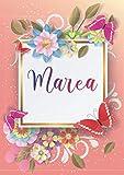 Marea: Taccuino A5 | Nome personalizzato Marea | Regalo di compleanno per moglie, mamma, sorella, figlia | Design: farfalla | 120 pagine a righe, piccolo formato A5 (14.8 x 21 cm)