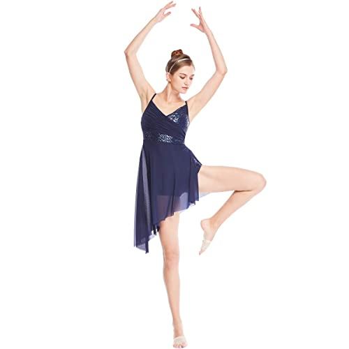 MiDee Lyrical Dress Dance Costume V Neck Sequins Leotard With Highlow Skirt