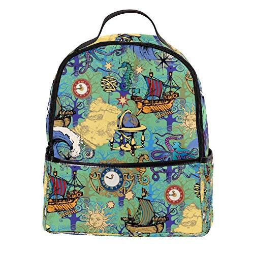 TIZORAX Vintage Uhr Boot Laptop Rucksack Casual Schulter Tagesrucksack für Studenten Schultasche Handtasche – leicht