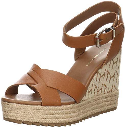 Tommy Hilfiger Footwear Raffia - Sandalia de cuña para mujer (piel, talla 40), color marrón