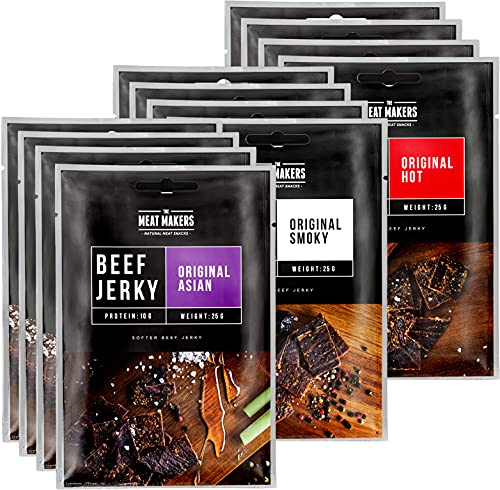 The Meat Makers | Snack Pack of Original Beef Jerky 12x25g (300g) – Smoky | Asian | Hot – Carne Secca, Snack alla Carne