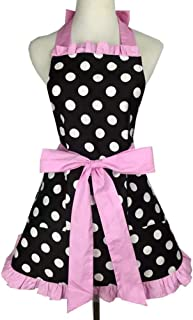 F-OXMY Womens Cute Retro Lacy Polka Dot Aprons with Pockets - Vintage Lovely Lady's Flirty Kitchen Cooking Aprons