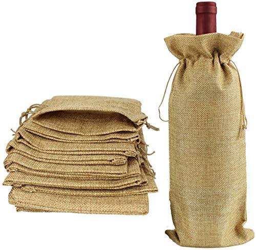 12 Piezas Bolsas de Vino de Yute, 35 x 15cm Hessian Wine Carriers con cordón, Bolsas de Regalo para Vino Envoltura de botella para cata de vinos fiesta boda cumpleaños navidad