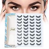 20 Pairs False Eyelashes Natural Look, Handmade Fluffy Mixed Fake Lashes, Long Soft and Reusable Eyelash Extension for Makeup