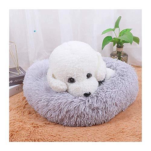 Premium Orthopädisches Haustierbett für große und extra große Hunde,Donut Hundebett Weiches Plüsch Rundes Hundesofa,Hundekörbchen waschbar (Color : Gray, Size : 70cm)