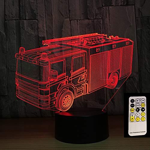 Camion de pompier 7 couleur 3D LED veilleuse sommeil chambre décoration lampe amour cadeau de fête d'anniversaire enfants garçon jouet cadeau de Noël