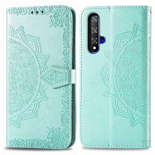 Bear Village Hülle für Huawei Nova 5, PU Lederhülle Handyhülle für Huawei Nova 5, Brieftasche Kratzfestes Magnet Handytasche mit Kartenfach, Grün
