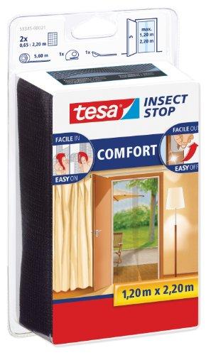 tesa 55345-00021-00 55345-00021-00-Malla Anti-Insectos Puertas Negra 2u x 0,65m x 2,20m, Standard