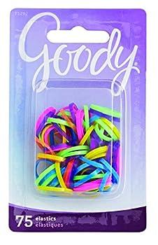 Goody Mini Latex Hair Elastics Assorted Neon Colors 75-count