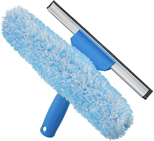 Unger Professional Magnetic Window Cleaning Tool: 2-in-1 Microfiber Scrubber and Squeegee, 10
