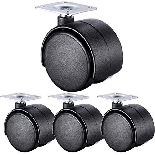 Jolan Swivel Casters with Brakes,Flat Office Chair Casters,with Screws,Diameter:40/50Mm,Furniture Casters,Leaving No Trace,4 no Brakes,40mm