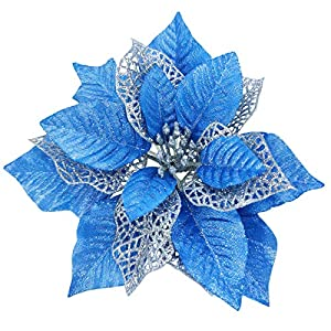 TURNMEON 12 Pack 8.7 Inch Christmas Glitter Poinsettia Artificial Silk Flowers Picks Christmas Tree Ornaments for Gold Christmas Tree Wreaths Garland Holiday Decoration (Blue)