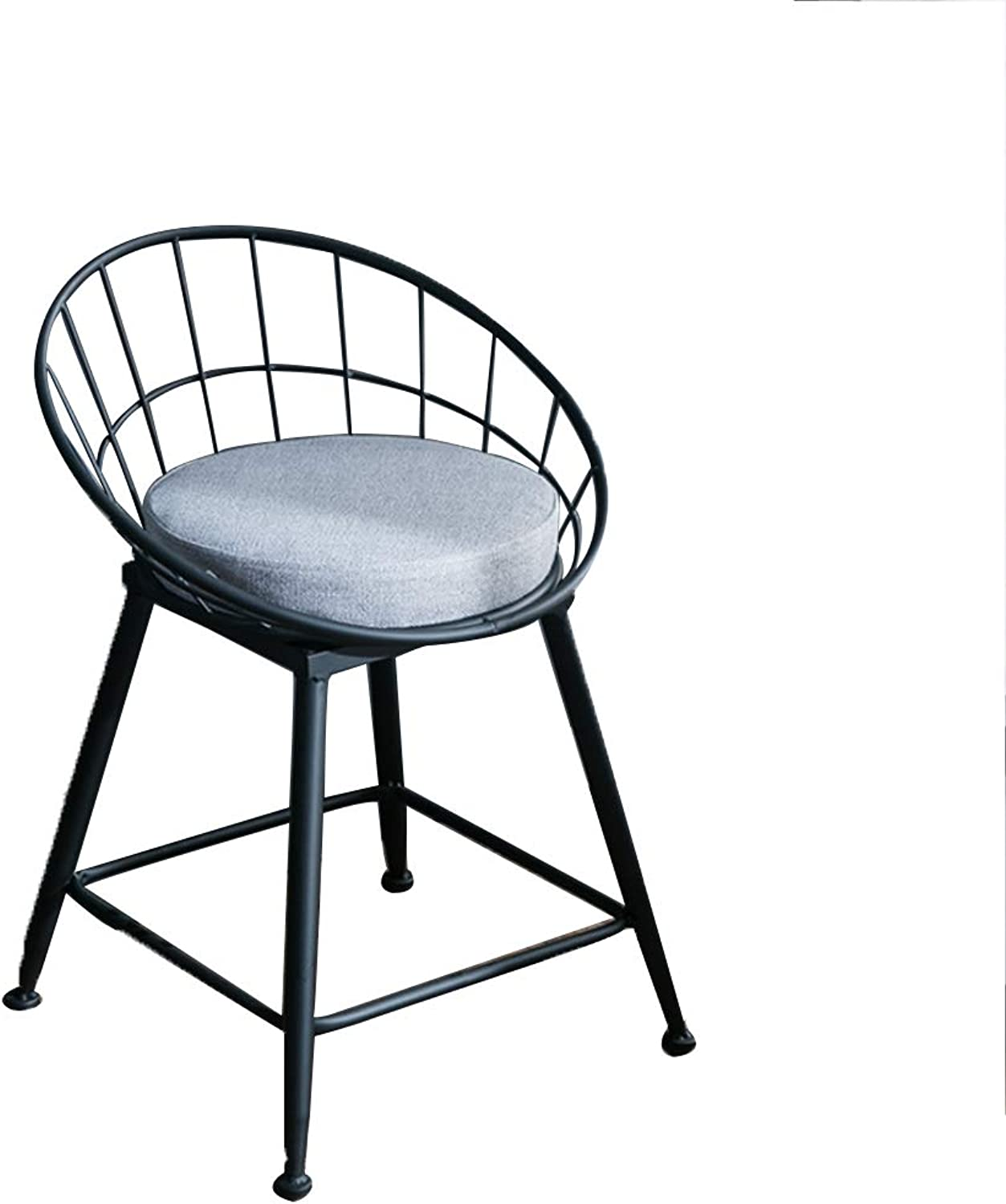 Barstools Chair High Stool Bar Stool Breakfast Chair and Cushion Seat Back Comfort Kitchen Breakfast Counter Greenhouse Black (Size   45x45x45cm)