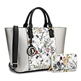 Marco M Kelly Women Fashion Large Satchel Tote Handbags with Wallet Designer Purse with Wallet for Ladies (Silver/White)