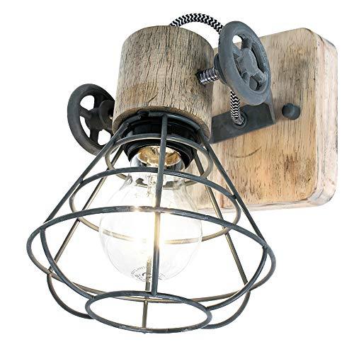 Retro Wand Strahler verstellbar Käfig Design Wohn Arbeits Zimmer Holz Spot Lampe Steinhauer 1578GR