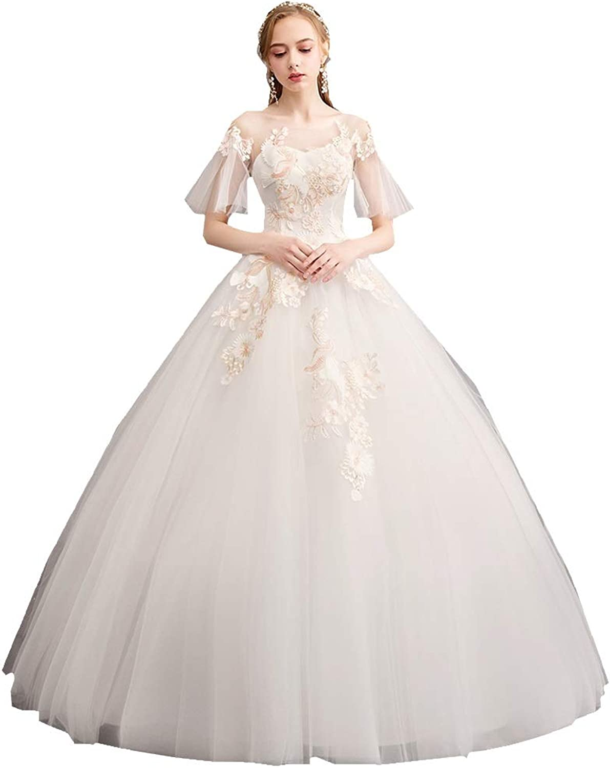 Women's Wedding Dress Qi Wedding Champagne Lace One Shoulder Trumpet Sleeve Bride was Thin Dreamy Light Ball Gowns Evening Dress (Size   S)