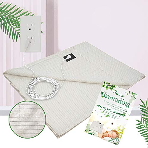 Talc Grounding Mat, Grounding Sheet for Emf Protection, Grounding Sheets Improve Your Sleep, Less Pain/Healthy Conductive Silver Fiber Mat (Sheet 25x52 Inch)
