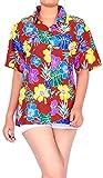 LA LEELA botón de Las Mujeres de Playa Hawaiano Camisa Casual de Manga Corta hacia Abajo Aloha Verano M - ES Tamaño :- 44-46 Blood Rojo_AA145