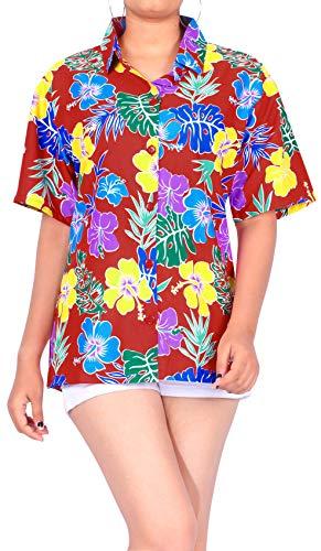 LA LEELA Playa de la Camisa Hawaiana clásica de Vacaciones Aloha Trabajo de Oficina de Vacaciones de Verano Mujeres L-ES Tamaño- 46-48 Blood Rojo_AA145