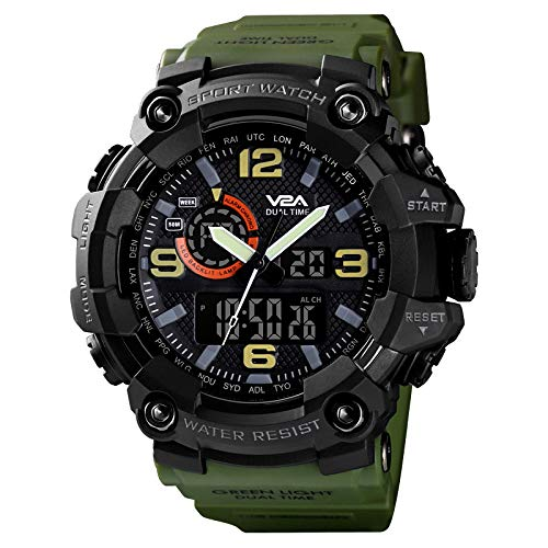 V2A Military Green Analog Digital Sport Watches for Men's and Boys (Black Dial Green Colored Strap)