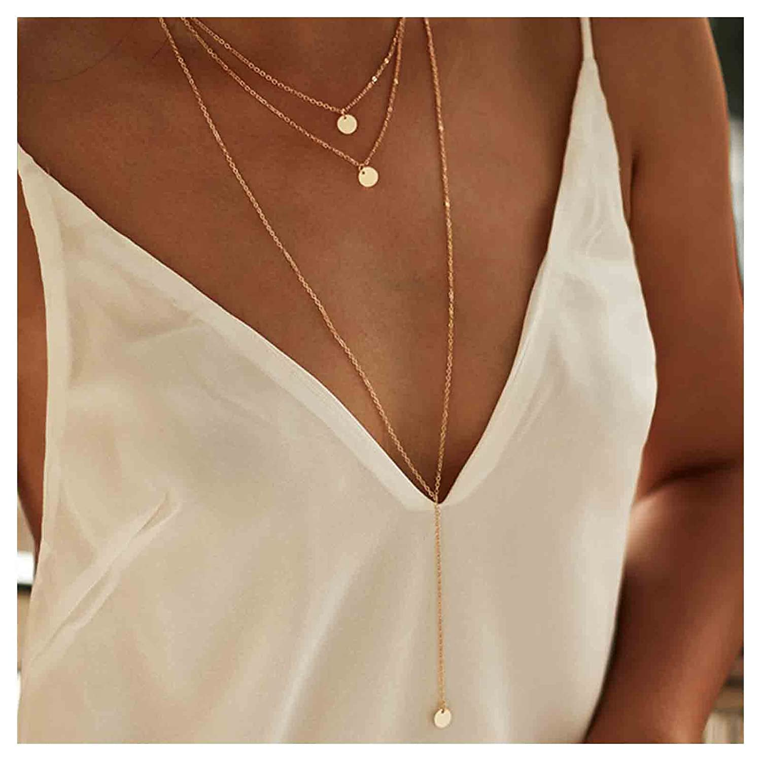 Yheakne Boho Layered Coin Necklace Gold Disc Coin Pendant Necklace Long Necklaces for Women Girls Y Lariat Necklace Jewelry