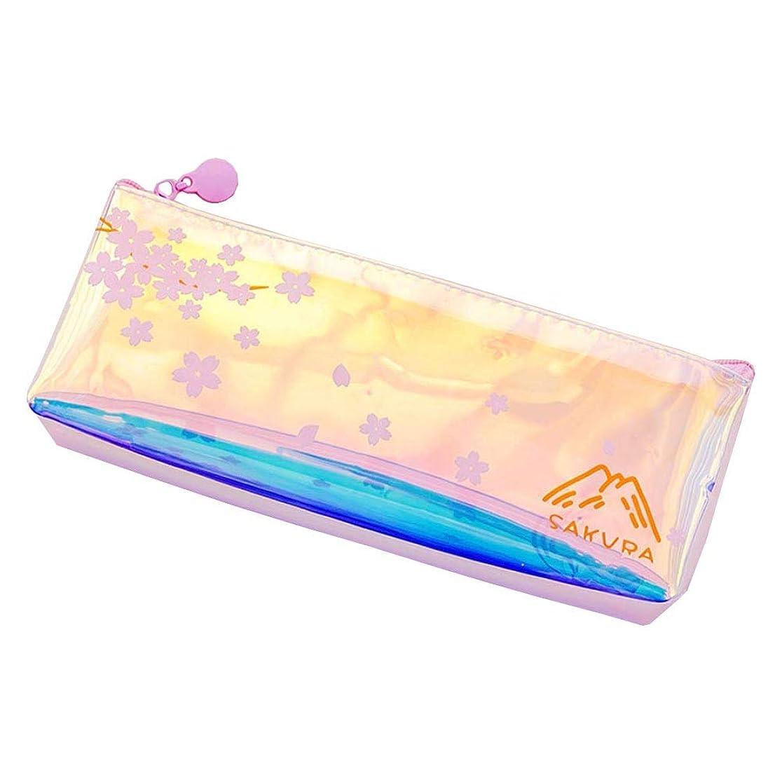 アクセシブルチャネル藤色ColorfulLaVie シンプルな透明鉛筆バッグピンクガール文房具収納袋プリントフラワーペンケース