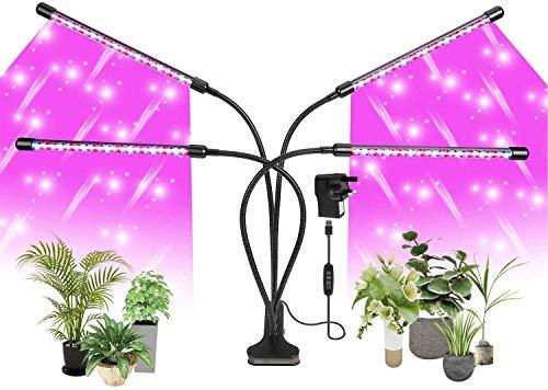LÁMPARA DE PLANTAS, Luz de cultivo LED de espectro completo con 120 LED, Lámparas de planta LED de 4 cabezas con cuello de cisne flexible de 360 grados,con lámparas de cultivo LED con temporizador