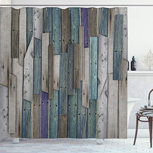"""Ambesonne Rustic Shower Curtain, Image of Blue Grey Grunge Wood Planks Barn House Door Nails Country Life Theme Print, Cloth Fabric Bathroom Decor Set with Hooks, 70"""" Long, Teal Purple"""