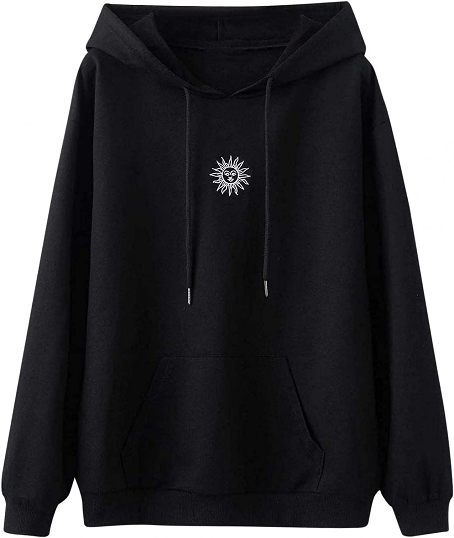 Aniwood Sweatshirts for Women, Womens Long Sleeve Fashion Print Hooded Sweatshirts Teen Girls Casual Loose Tops Shirts