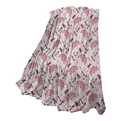 Vintage Christmas Blanket Super Soft & Cozy Women Fashion Theme Old Fashioned Accessories Gloves Shoes Peacock Feather Earrings Pale Pink 70' W x 94' L