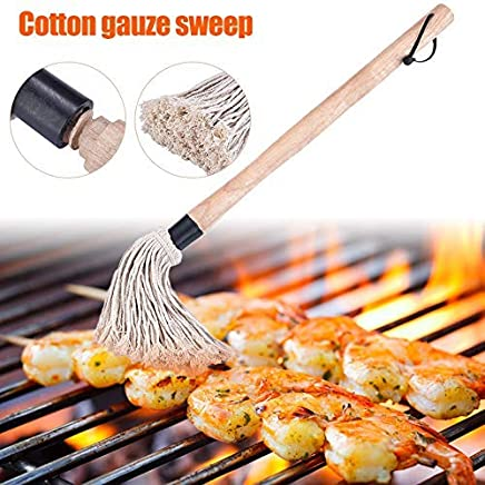Yardwe 19-Inch Grill Basting Brush Cotton Sauce Oil Brush Barbecue Brush Cooking Mop for BBQ Meat Cakes Pastries
