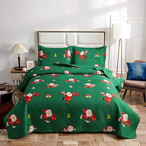 Christmas Bedding Set King Size Quilts Cover with Cartoon Santa Claus/Snowman/Deer Reversible Lightweight Bedspreads Coverlet Decor Bedroom for Xmas Holiday–(Green, 1 Quilt,2 Pillow Sham)