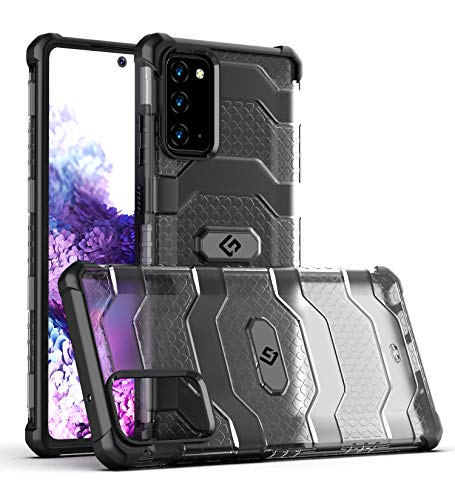 Golden Sand [Explorer Series] Samsung Galaxy Note 20 Back Cover Shockproof Semi-Transparent Rugged Military Grade Phone Case, Certified Drop Protection, Space Black