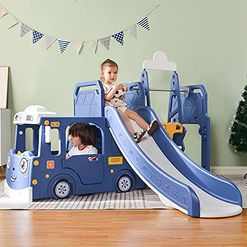 Casa de juegos para niños, torre de juegos multifuncional con tobogán, columpio, escalada y canasta de baloncesto, casa de jardín para interiores y exteriores