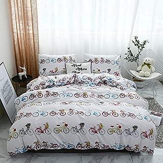 nioBomo Bedding-Set for Kids, Queen Bicycle Cartoon Duvet-Cover-Set, 1 Duvet Cover and 2 Pillowcase Microfiber Comforter- Cover- Set