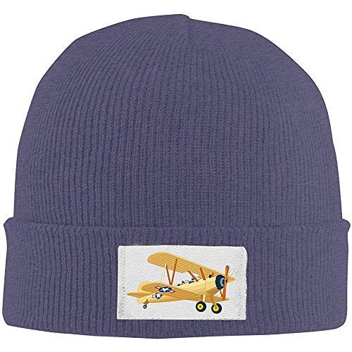 LinUpdate-Store Gebreide Cuffed Beanie Cap, getekend vliegtuig, uniseks, gebreide muts, bescherming winter, buiten warme hoeden, effen