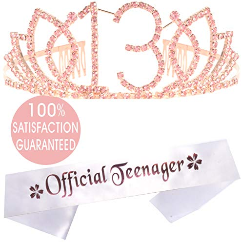 13th Birthday Gifts for Girl, 13th Birthday Tiara and Sash, Happy 13th Birthday Party Supplies, Official Teenager Satin Sash Tiara Birthday Crown,13th Birthday Party Decorations for Girl
