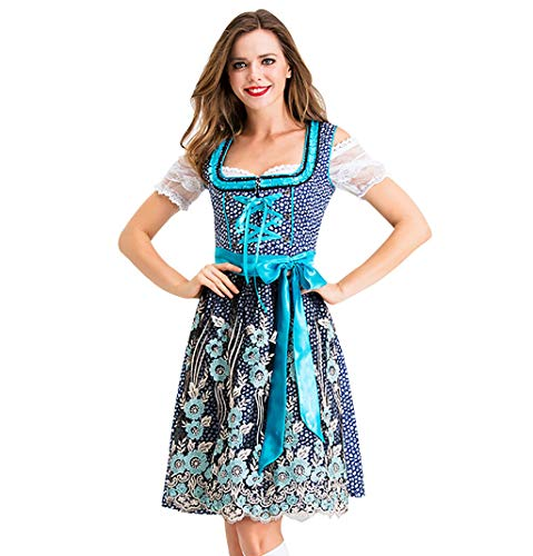 Lomelomme Trachten Dirndl Kurz Damen Spitzenkleid Midi Trachtenkleid für Oktoberfest Kleid Schürze Oktoberfest-Kleid Midi Dirndl Spitzenschürze Damen Minikleider