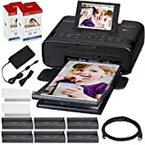Canon SELPHY CP1300 Compact Photo Printer (Black) with WiFi w/ 2X Color Ink and Paper Set