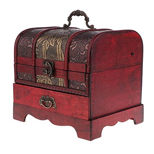 GANFANREN Caja de joyería de Madera Maciza Retro Caja de Almacenamiento de Brazalete Organizador Soporte Contenedor 20.5X 16 cm