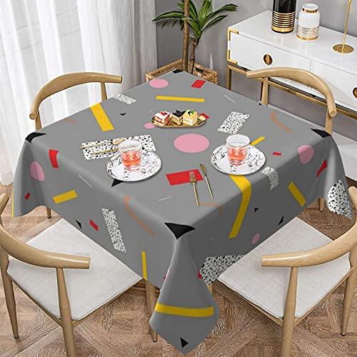Memphis Milano Debuilt Tahití Lámpara de mesa de mesa cuadrada Mantel de poliéster Tela cubierta de mesa para banquetes buffet cocina comedor y decoración de fiesta 156 x 152 cm